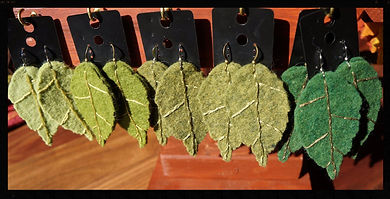 Leaf earrings, wool felt by Sharon Jong, artist of Edmonton, Alberta