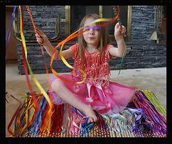 Ribbon crisscross play wands by artist Sharon Jong of Edmonton, Alberta