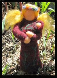 """""""Tree Goddess"""" all wool hand felted soft sculpture 3d needlefelted doll by Sharon Jong, artist of Edmontn, Alberta"""