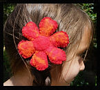 Single flower hair clip, all wool, needlefelted by Sharon Jong, artist of Edmonton, Alberta
