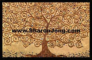 """Family Jewels"" fine art multi textured tree painting  tiny mirrors by Sharon Jong, artist of Edmonton, Alberta"
