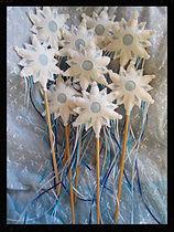 Snowflake play wands, wool felt by artist Sharon Jong of Edmonton, Alberta