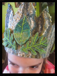 hand felted all wool waldorf leaf crown by Sharon Jong, artist of Edmonton, Alberta