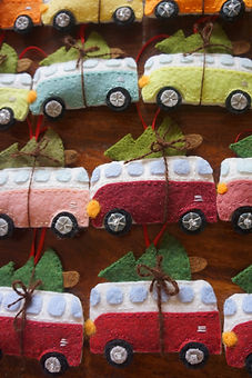 Hanging wool felt & stuffed Volkswagon hippy bus christmas tree ornaments by Sharon Jong, artist of Edmonton, Alberta
