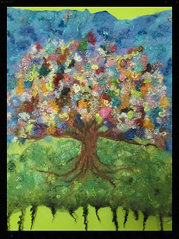 """Rainbow tree"" fine art wetfelted all wool wall hanging by Sharon Jong, artist of Edmonton, Alberta"