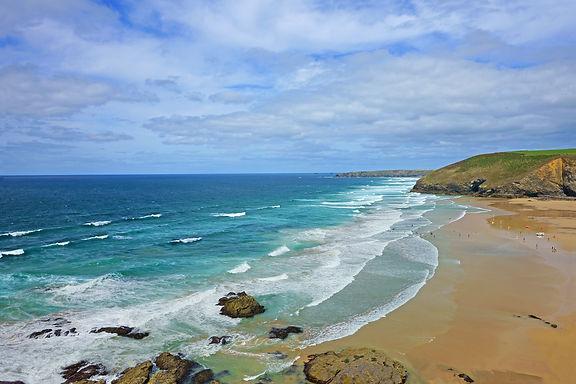A panorama view the Cornish coastline an