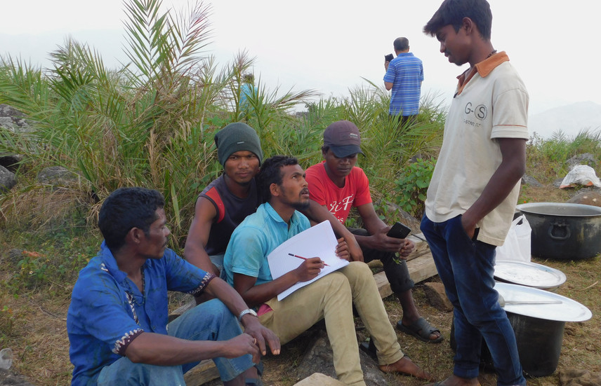Tribals participate in Dallapalli's Youth Art Workshop