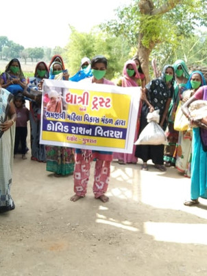 Food kits and masks distributed in Dahod District, Gujarat.