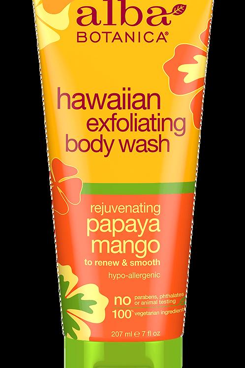 Alba Botanica hawaiian exfoliating body wash rejuvenating papaya mango 207ml