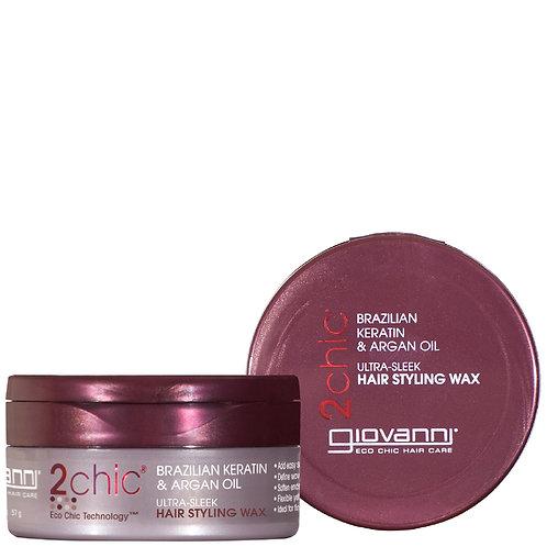 Giovanni, 2chic, Ultra-Sleek Hair Styling Wax, Brazilian Keratin & Argan Oil 57g