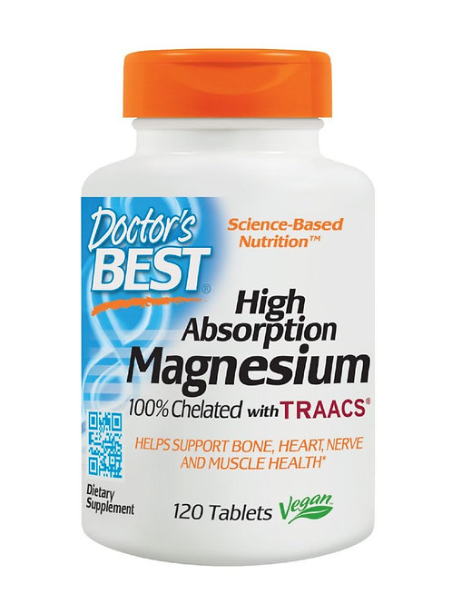 Doctor's Best, High Absorption Magnesium, 100% Chelated, 120 Tablets