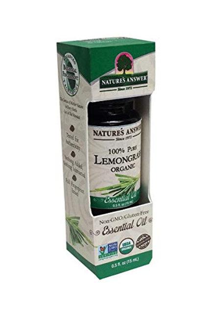 Nature's Answer, Organic Essential Oil, 100% Pure Lemongrass, 15 ml