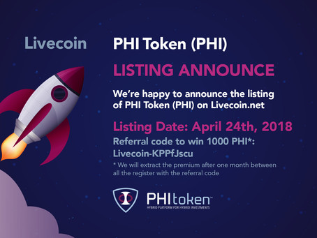 PHI Token listed on the first exchange