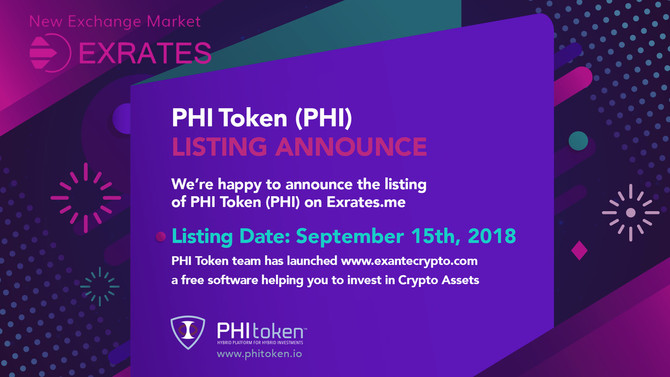 PHI Token new listing on Exrates.me