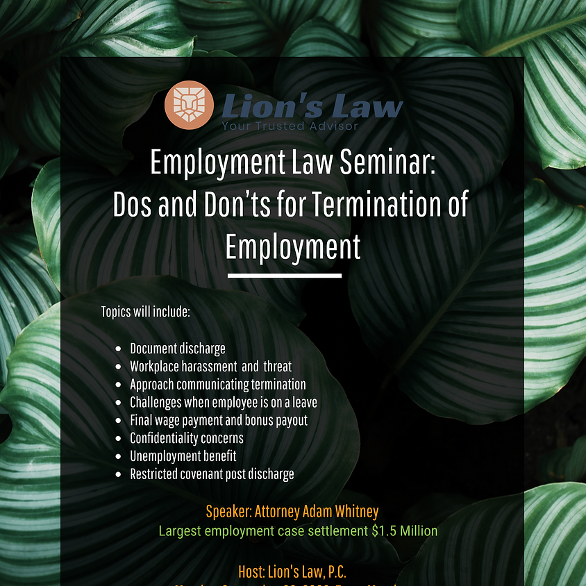 Past Event: Employment Law Seminar: Dos and Don'ts for Termination of Employment