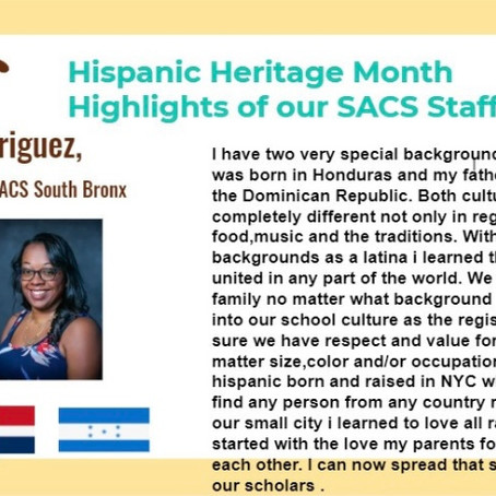 Hispanic Heritage Month highlights SACS staff!