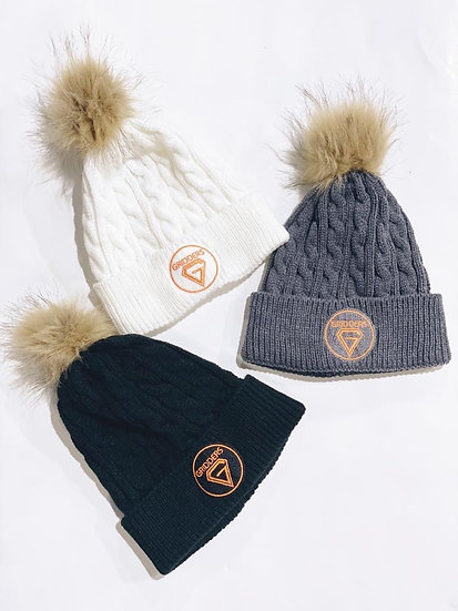 Gridders Cable Knit Beanie with Faux Fur Pom Pom