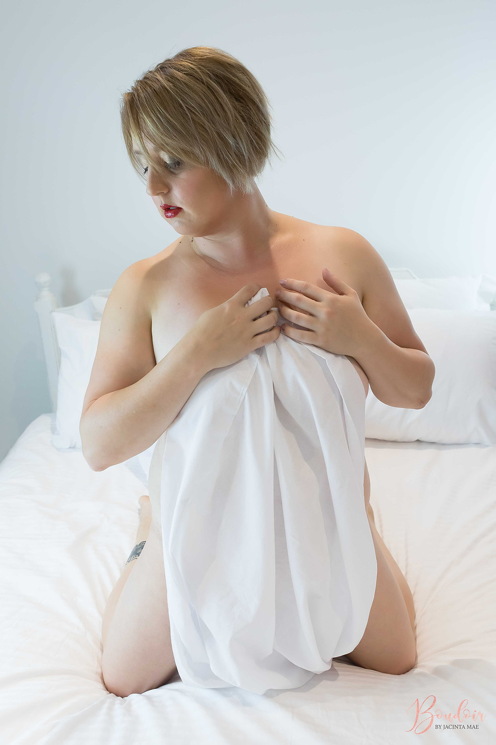 Natural Light Boudoir Photography Melbourne Mother White Sheets Bed