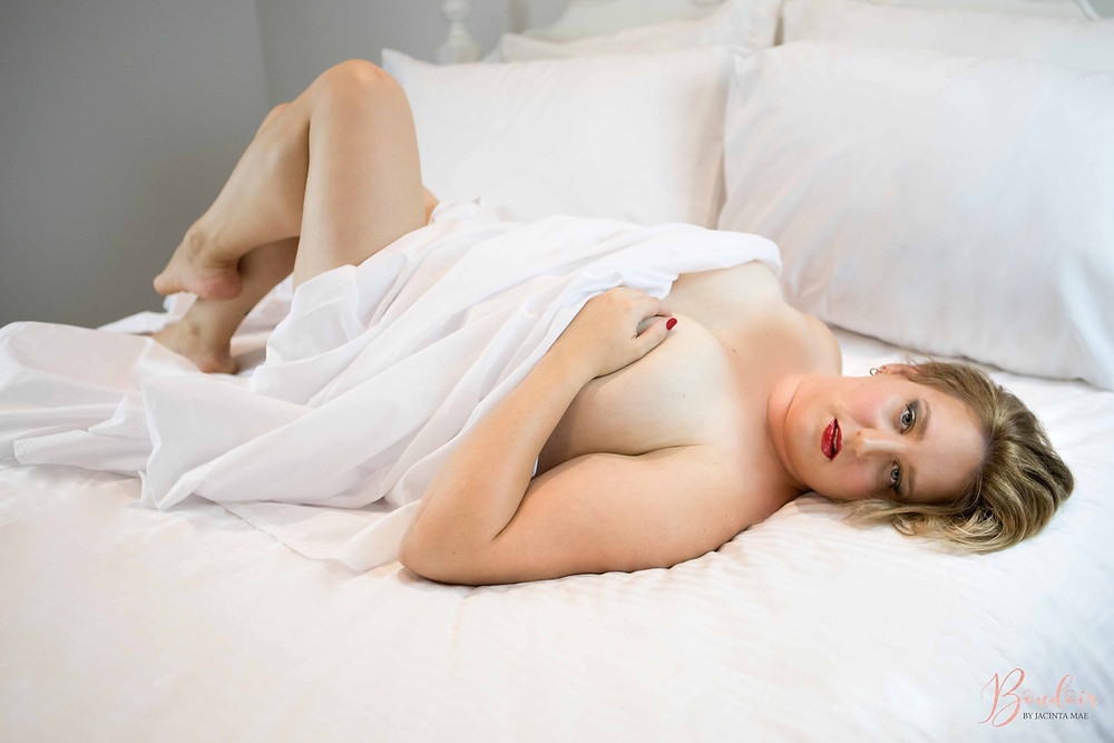 Natural Light Boudoir Photography White Sheets Nude
