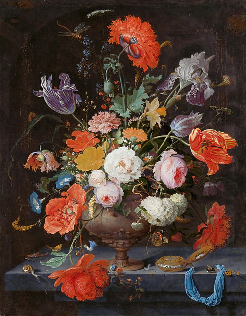 """Abraham Mignon - """"Still Life with Flowers and a Watch"""""""