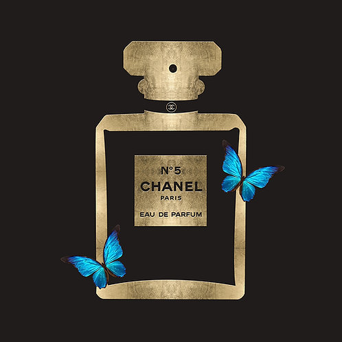 Chanel Bottle Gold Black Butterflies