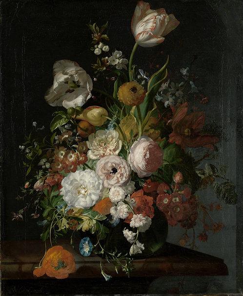 Stilleven met bloemen in een glazen vaas, Rachel Ruysch, ca. 1690