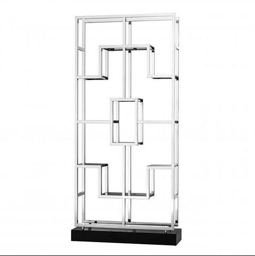 Eichholtz Cabinet - 'Lagonda' - Stainless Steel - Smoke Glass