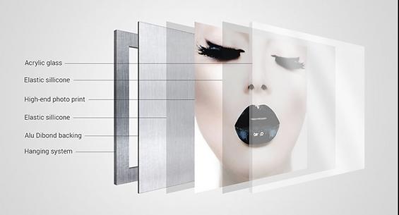 informatie combinatie 3mm. plexiglas en dibond achterplaat met aluminium blind ophangsysteem