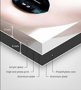 Voorbeeld van het materiaal 3mm. acrylglas daartussen de fotoprint en 3mm. dibond  met ophangprofiel