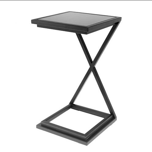Eichholtz Bijzettafel - Cross 'Black' - Hoog Glans Stalen Frame -Zwart Glas