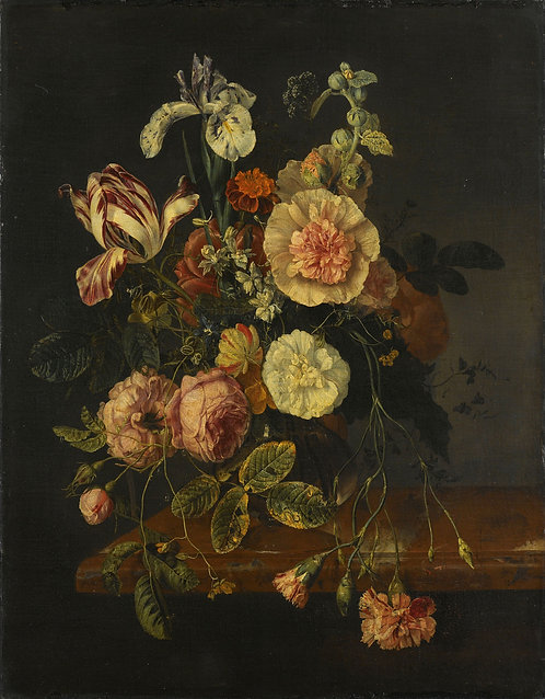 Still life With Flowers,1727, 'Jacob Van Walscapelle '