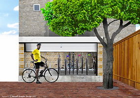 Rendering of residential bicycle housing.