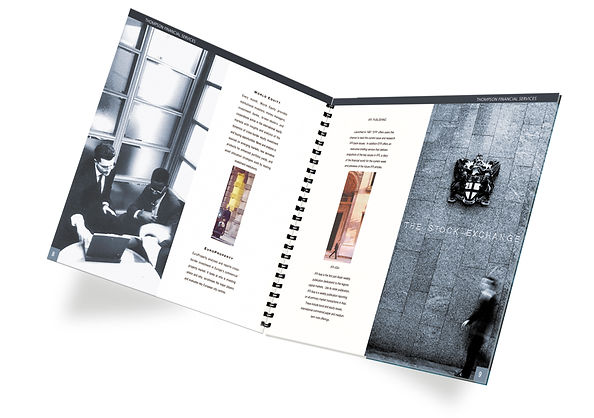 Company Brochure. Financial Services Document, printed brochure, photography, art direction