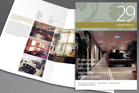 property marketing and sales brochure, office sales, marketing tools, print design, development scheme, scheme plan