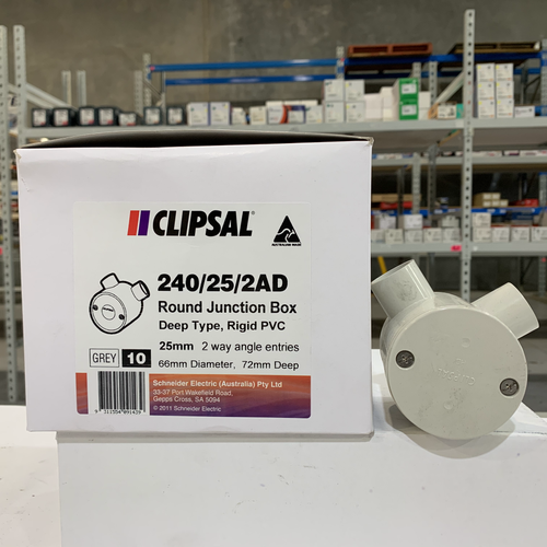 2 X CLIPSAL ROUND JUNCTION BOX 240//25//1  NEW
