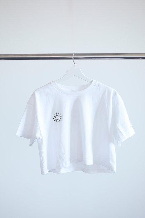 "WOMEN´S CROP T-SHIRT WHITE ""SUNSHINE"""