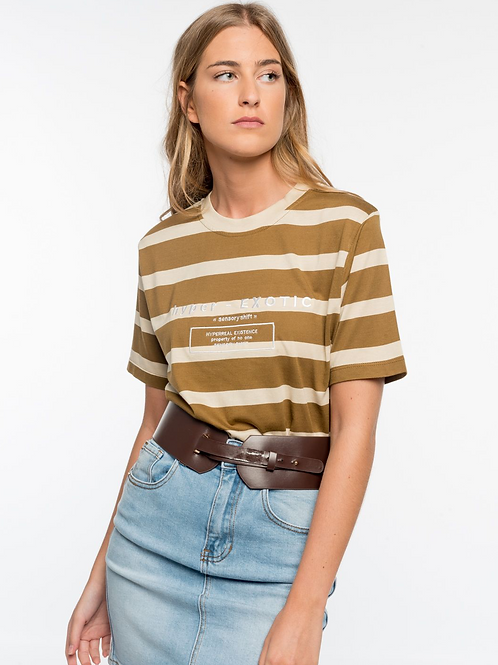 Stripped embroidered T-shirt