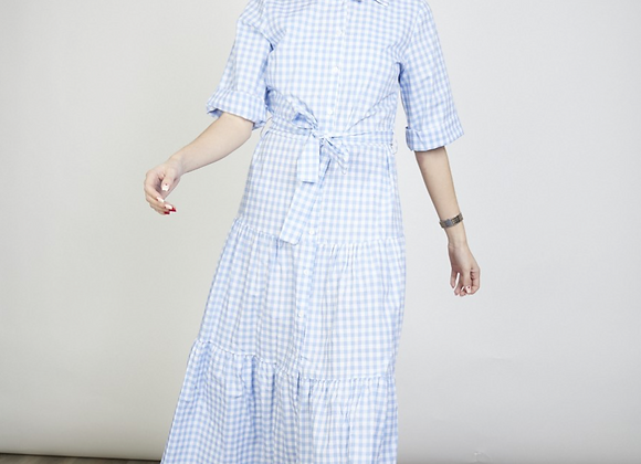 Vichy print maxi dress