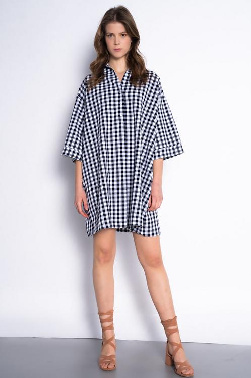 Oversized Gingham print shirt dress
