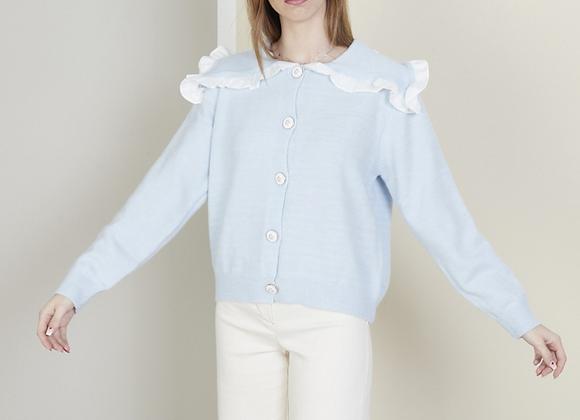 Ruffled wing collar sweater