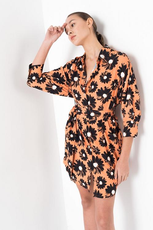 Flower orange dress shirt
