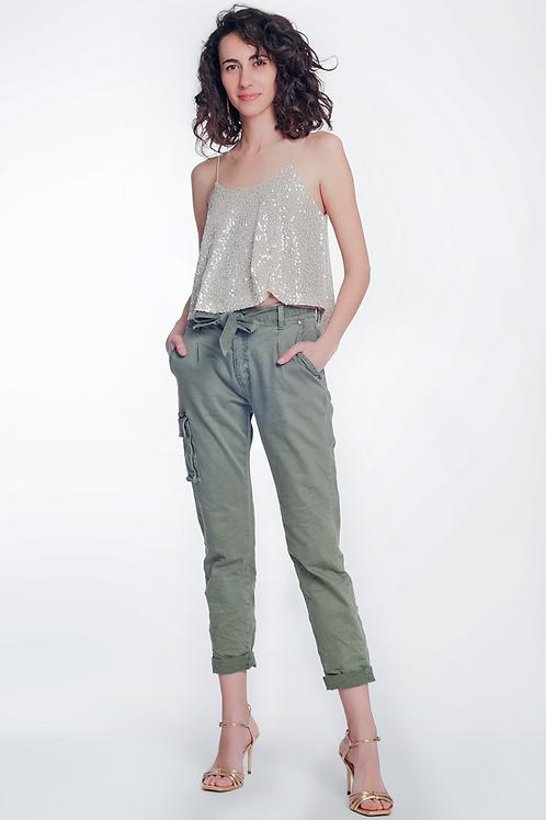 Straight cut cargo denim trouser
