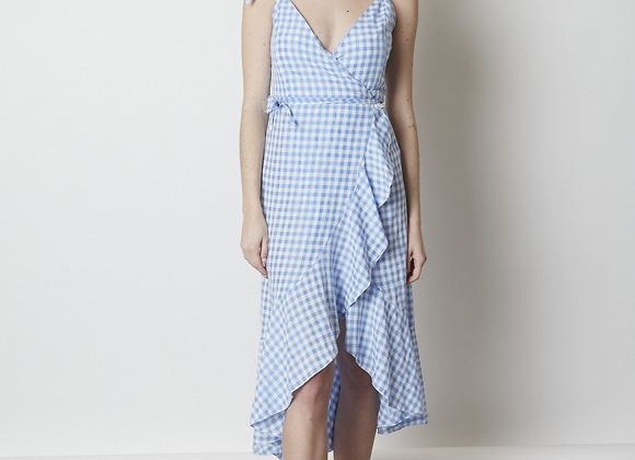 Gingham print crossfront wrap Dress