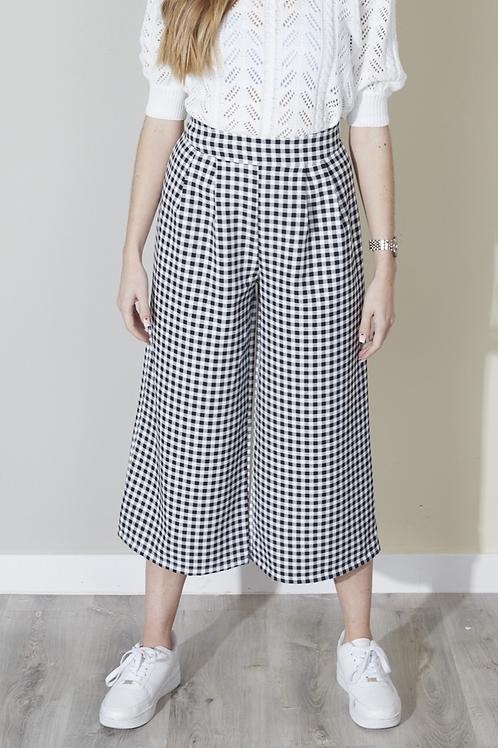 Houndstooth culotte trouser