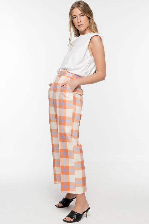 Gingham cropped trouser