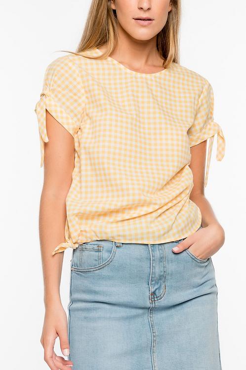 Yellow Gingham print blouse
