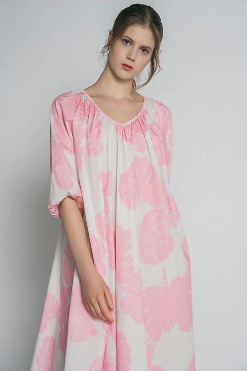 Leave print dress