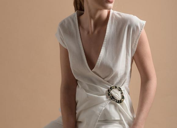 Linen buckle blouse