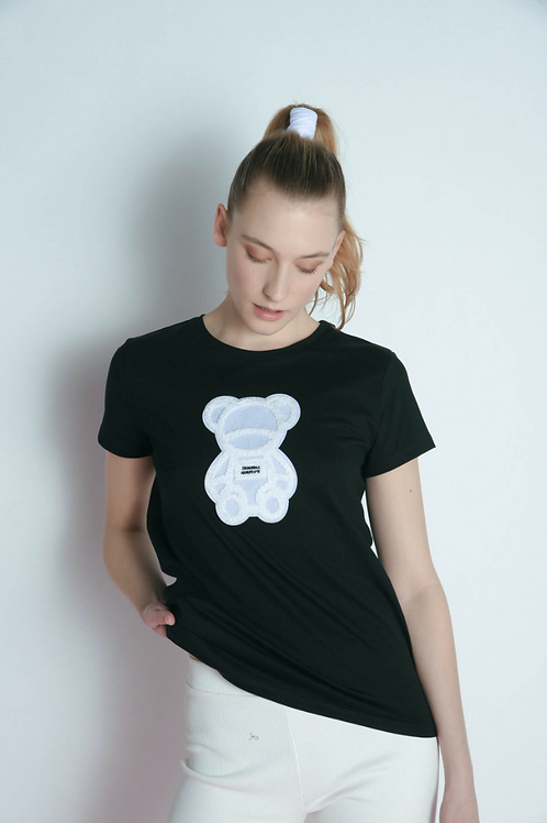 T-shirt with teddy bear patch