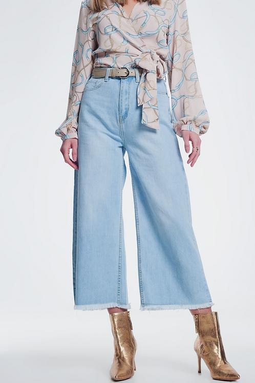 Straight cut hight waist culotte denim trouser